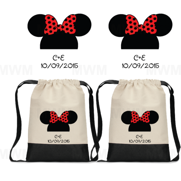 Custom Matching LGBT Lesbians Cotton Canvas Drawstring Packs Bags Tote for Soul Mate, Mrs Mrs, Princess Princess, Minnie Minnie Mouse Cute Kissing, Minnie Minnie Mouse Head and Ears with Custom Names/Innitials and Date