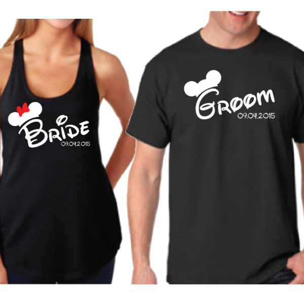 Cute Bride And Groom Couple Mix and Match Shirts Married With Mickey