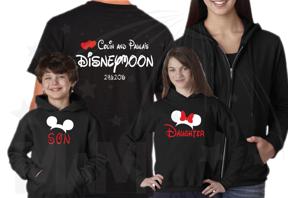 Family Matching Disney Shirts, Mom Dad Son Daughter Granny Grampa (add as many as you need) Disneymoon Honeymoon Vacations Shirts married with mickey mwm