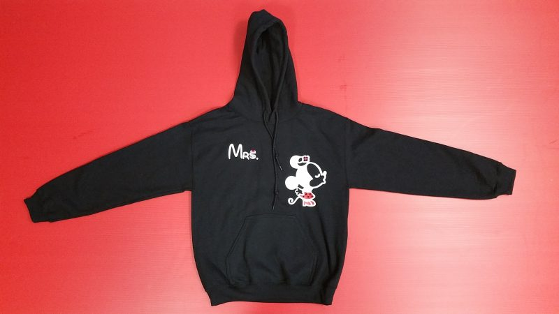 Black Hoodie Men's Cut Pullover Sweatshirt Mrs minnie Mouse Kissing Married With Mickey