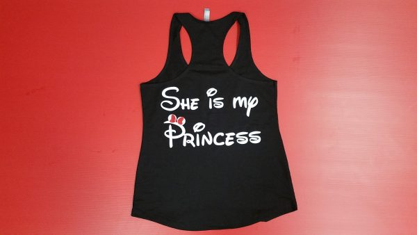 Black Ladies Tank Top LGBT Lesbian Shirt She is My Princess Minnie Mouse Red Bow Married With Mickey