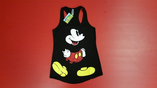 Black Ladies Cute Racerback Tank Top Mickey Mouse Old Style Design Red Pants