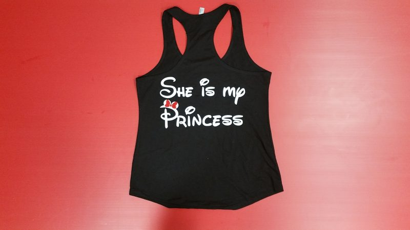 BlackLadies Racerback Tank Top Mickey Mouse Kiss On Cheek She's My Princess Red Bow Married With Mickey