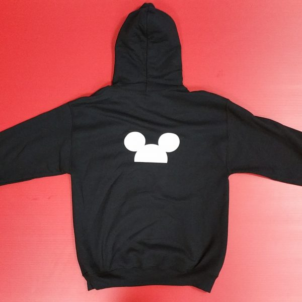 Black Pullover Hoodie Mickey Mouse Head Design Married With Mickey