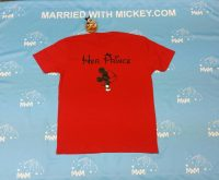 Red Mens Cut Tshirt XL , Her Prince Mickey Mouse Kiss (back design), blank front MWM Married With Mickey