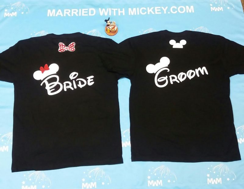 Bride Groom Cute Shrits Mickey Minie Mouse Head and Red Polka Dots Bow MWM Married With Mickey