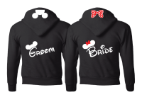 Bride Groom Cute Shrits Mickey Minie Mouse Head and Red Polka Dots Bow Married With Mickey