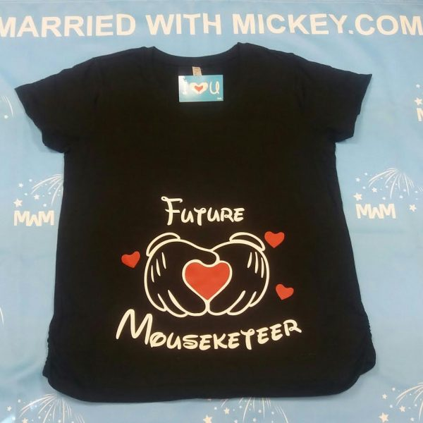 Future Mouseketeer Mickey Mouse Hands With Hearts LAT Ladies Fine Jersey Maternity Top married with mickey mwm