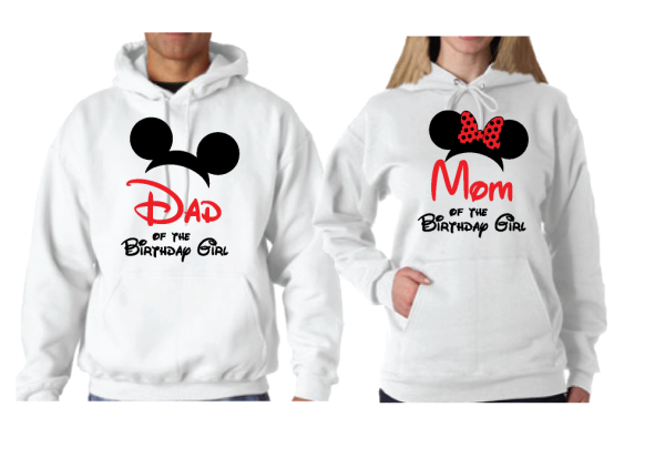 disney matching couple parents hoodies mom dad of the birthday girl