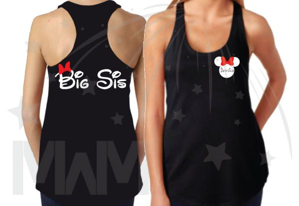 3 and/or more Sisters Disney Matching Cute Shirts Big Sis Lil Sis add names on front to Minnie Mouse Head