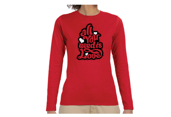 women's disney red long sleeve t shirts All You Need Is Love married with mickey