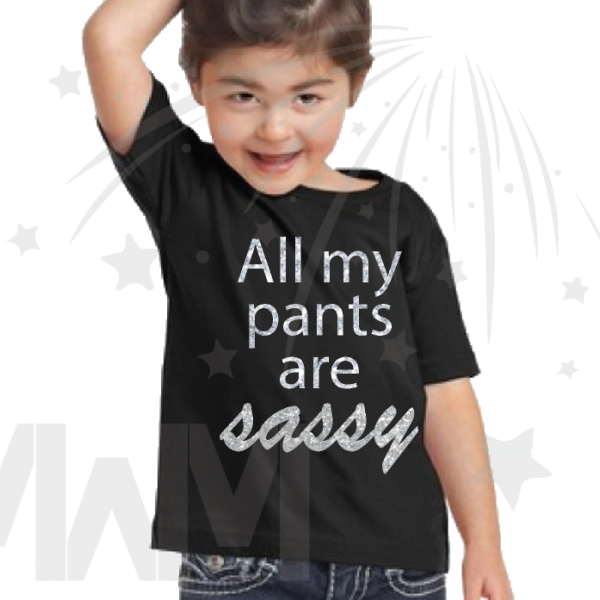 All My Pants Are Sassy Silver or Black Glitter Graphics Funny girls black tshirt married with mickey mwm