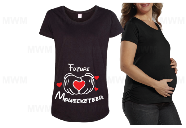 Future Mouseketeer Mickey Mouse Hands With Hearts LAT Ladies Fine Jersey Maternity Top mwm married with mickey