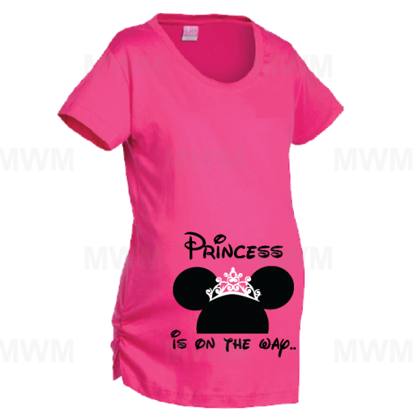 Princess Is On Her Way Minie Mouse Head Cute Crown LAT Ladies Fine Jersey Maternity Top mwm married with mickey
