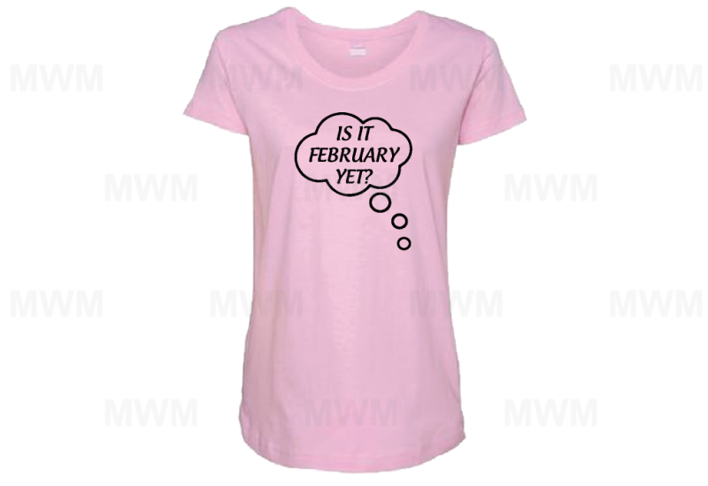 Is It February Yet? Funny LAT Ladies Fine Jersey Maternity Top mwm married with mickey