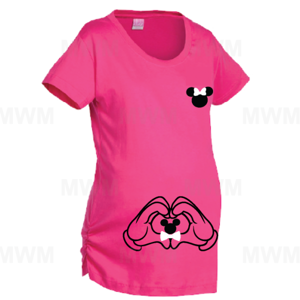 Minnie Mouse Shirt Cute Bow Mickey Mouse Inside Mickey Hands Me LAT Ladies Fine Jersey Maternity Top mwm married with mickey