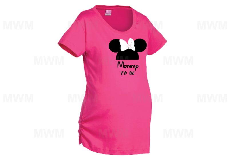 Mommy To Be Minie Mouse Head Cute Red Bow LAT Ladies Fine Jersey Top mwm married with mickey