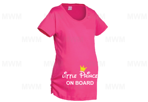 Little Prince On Board Prince Crown LAT Ladies Fine Jersey Maternity Top mwm married with mickey