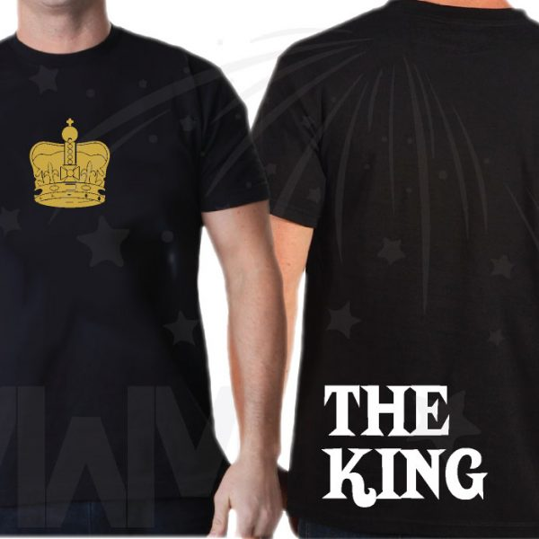 Disney Family Matching Shirts The King His Queen Their Prince and Crowns in Gold Color Print married with mickey mwm