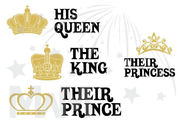 Family Matching Shirts The King His Queen Their Prince and Crowns in Gold Color Print married with mickey mwm