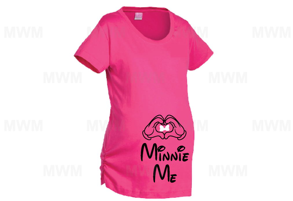 Minnie Me Minnie Mouse Cute Red Bow Mickey Mouse Hands LAT Ladies Fine Jersey Maternity Top mwm married with mickey