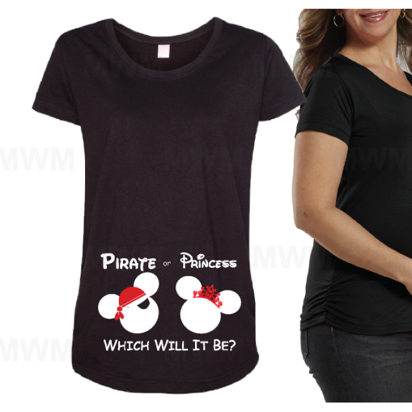 Pirate Or Princess.. Which Will It Be Funny Maternity Shirt LAT Ladies Fine Jersey Top mwm married with mickey