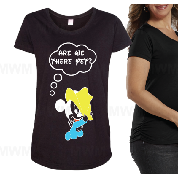 Are We There Yet Mickey Mouse Cute Baby Funny LAT Ladies Fine Jersey Maternity Top mwm married with mickey