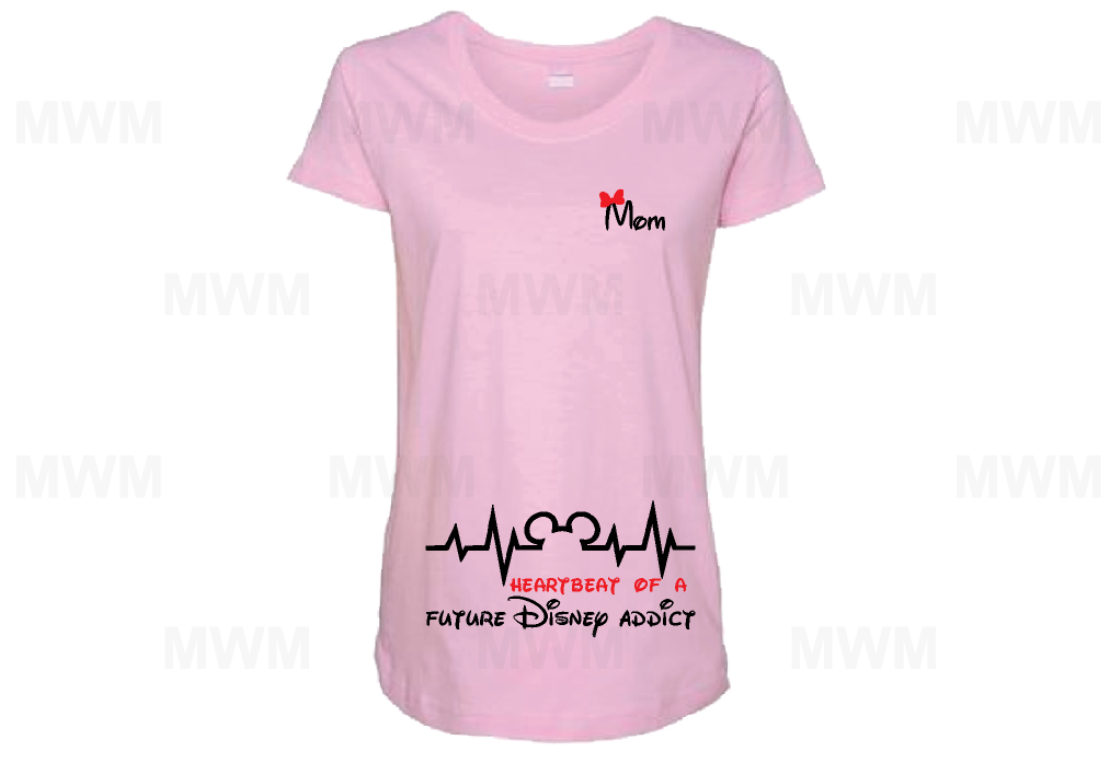 Heartbeat of a Future Disney Addict Mom Shirt LAT Ladies Fine Jersey Maternity Top mwm married with mickey