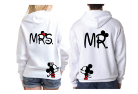 Mr and Mrs Disney Cute Couple Matching Shirts With Your Wedding Date And Kissing Mickey And Minnie mwm married with mickey