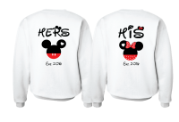 Cute His Hers Big Ears Mickey Minnie Mouse Head Polka Dot Bow mwm married with mickey