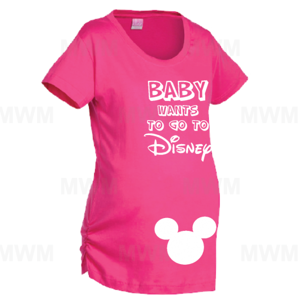 women's disney shirts Baby Wants To Go To Disney Married With Mickey Maternity Ladies Shirt