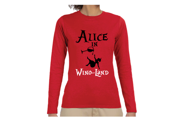 Alice In Wino-Land Ladies Cool Funny Shirt for Wine Lover married with mickey mwm