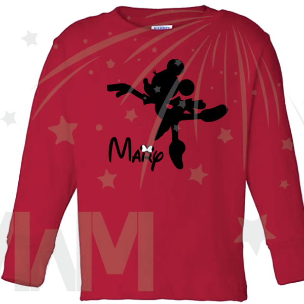Minnie Mouse Ballerina Shirt With Name Girls Shirt Toddler Sizes married with mickey mwm