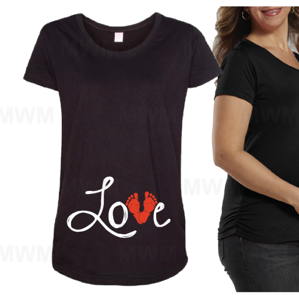 Love Design Wityh Baby Feet Too Cute Maternity Black Shirt