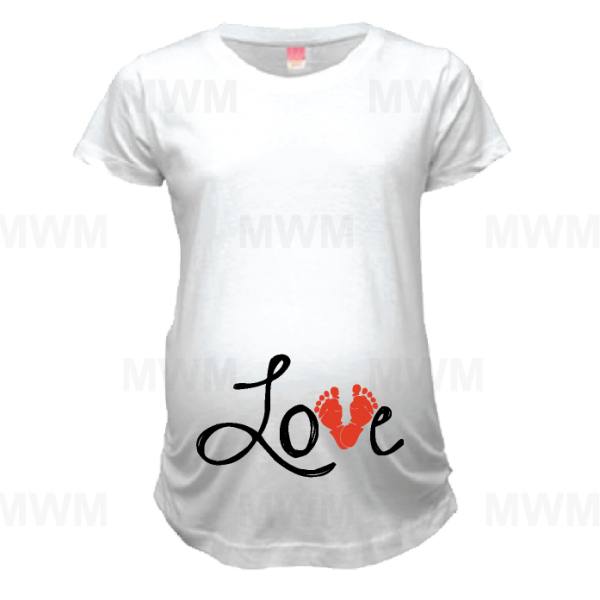 Love Design Wityh Baby Feet Too Cute Maternity White Shirt