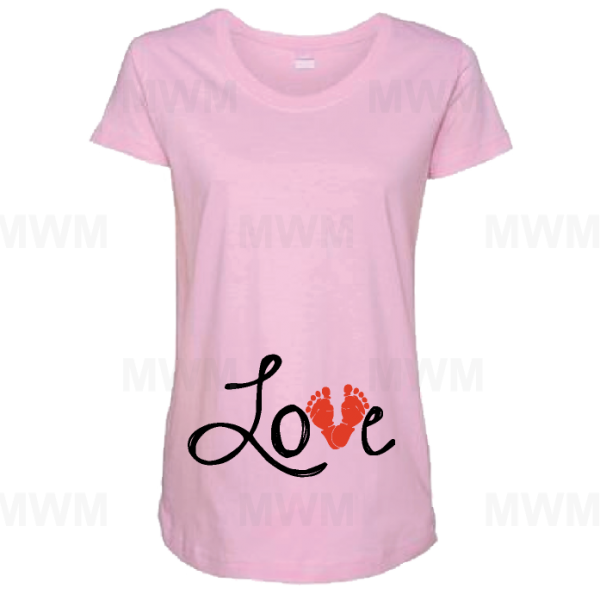 Love Design Wityh Baby Feet Too Cute Maternity Pink Shirt