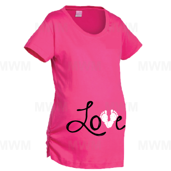 Love Design Wityh Baby Feet Too Cute Maternity Hot Pink Shirt