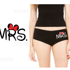 Choose From 5 Designs Mrs Wifey Princess Birthday Girl or Printed Custom Name on Ladies' Cotton/Spandex Shortie married with mickey mwm