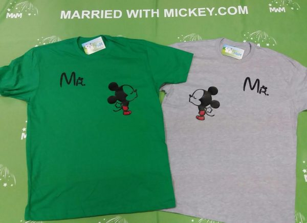 LGBT Gay Matching Couple Shirts For Mr With Very Cute Little Kissing Mickey Mouse mwm married with mickey