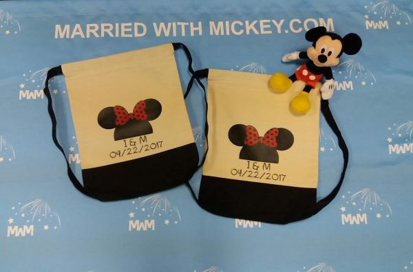 Custom Matching LGBT Lesbians Cotton Canvas Drawstring Packs Bags Tote for Soul Mate, Mrs Mrs, Princess Princess, Minnie Minnie Mouse Cute Kissing, Minnie Minnie Mouse Head and Ears with Custom Names/Innitials and Date married with mickey
