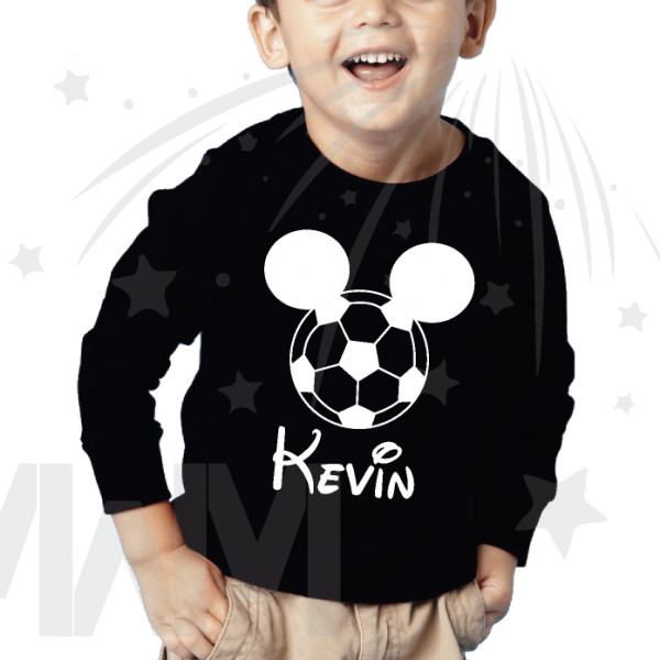 Mickey Mouse Football Head, Custom Name For Long Sleeve kids sizes