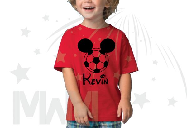 Mickey Mouse Football Head, Custom Name on Toddler tshirt married with mickey