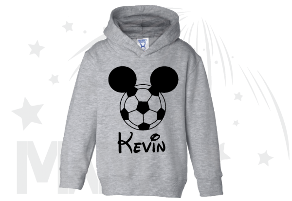 Mickey Mouse Football Head, Custom Name on Toddler hoodie