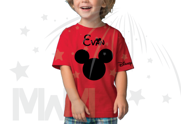 Disney Mickey Mouse Head red toddler tshirt With Custom Name married with mickey mwm