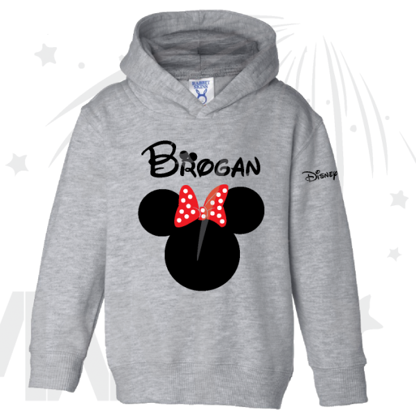 Disney Minnie Mouse Red Polka Dot Cute Bow grey toddler sweatshirt With Custom Name
