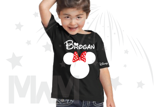 Disney Minnie Mouse Red Polka Dot Cute Bow black toddler tshirt With Custom Name