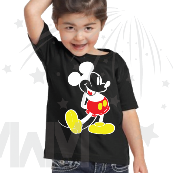 Disney Mickey Mouse Old Style Design kids black tshirt