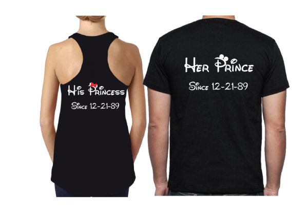 matching disney couple shirts Wifey Hubby His Princess Her Prince Wedding Date Married With Micket MWM