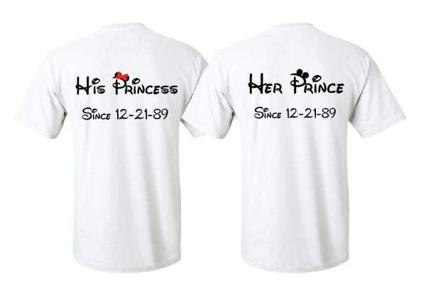 matching couple shirts Wifey Hubby His Princess Her Prince Wedding Date Married With Micket MWM