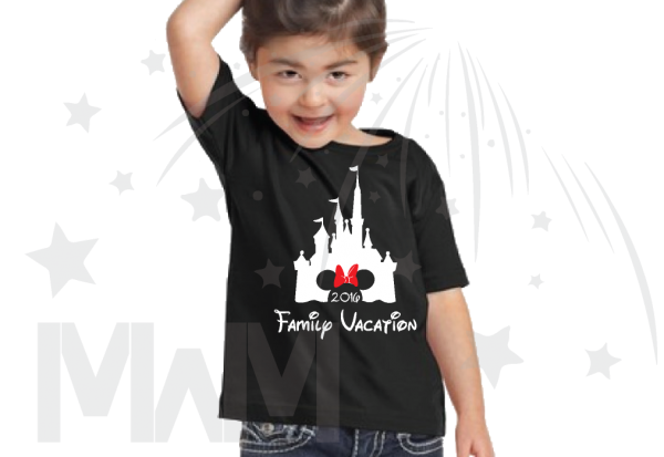 disney family vacation cinderella castle minnie mouse on black t shirt toddler sizes